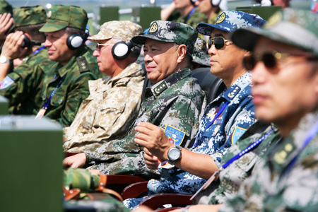 Chinese Military on Senior Chinese  Russian Military Officers Watch Jiont Drills